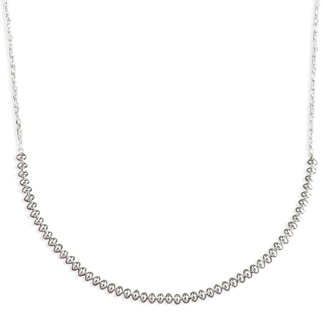 Sterling Silver Oval Bead Chain Necklace 2